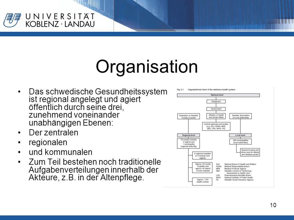 Gesundheitspolitik im europäischen Vergleich - Deutschland10 Organisation Das schwedische Gesundheitssystem ist regional angelegt und agiert öffentlic