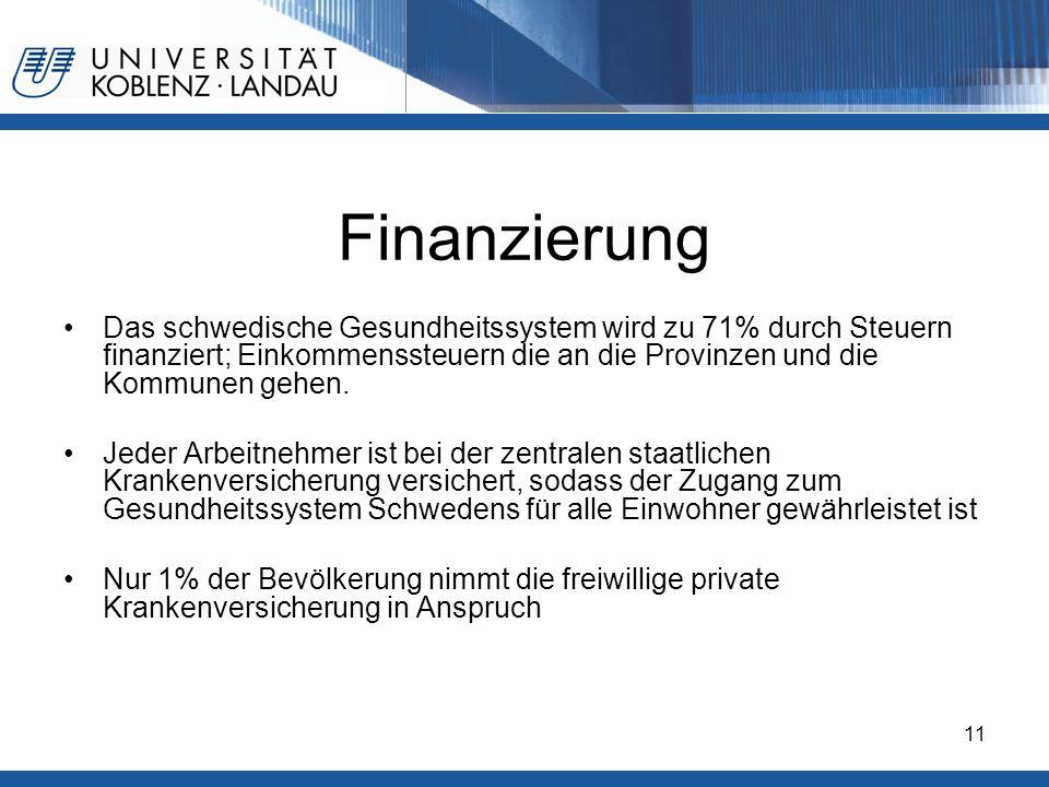Gesundheitspolitik im europäischen Vergleich - Deutschland11 Finanzierung Das schwedische Gesundheitssystem wird zu 71% durch Steuern finanziert; Eink