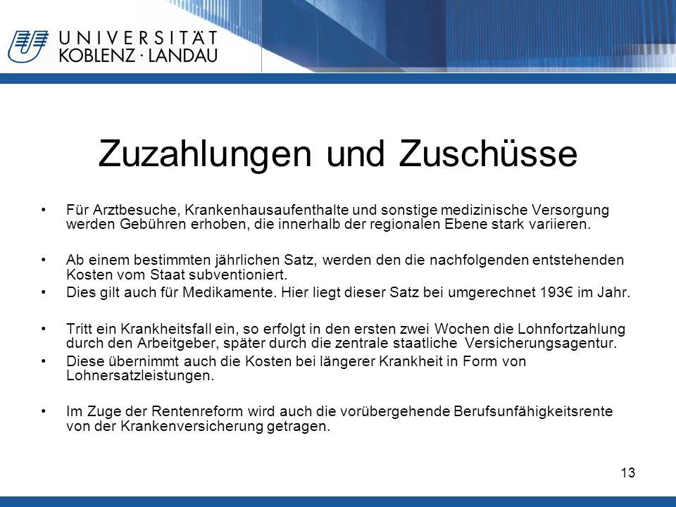 Gesundheitspolitik im europäischen Vergleich - Deutschland13 Zuzahlungen und Zuschüsse Für Arztbesuche, Krankenhausaufenthalte und sonstige medizinisc
