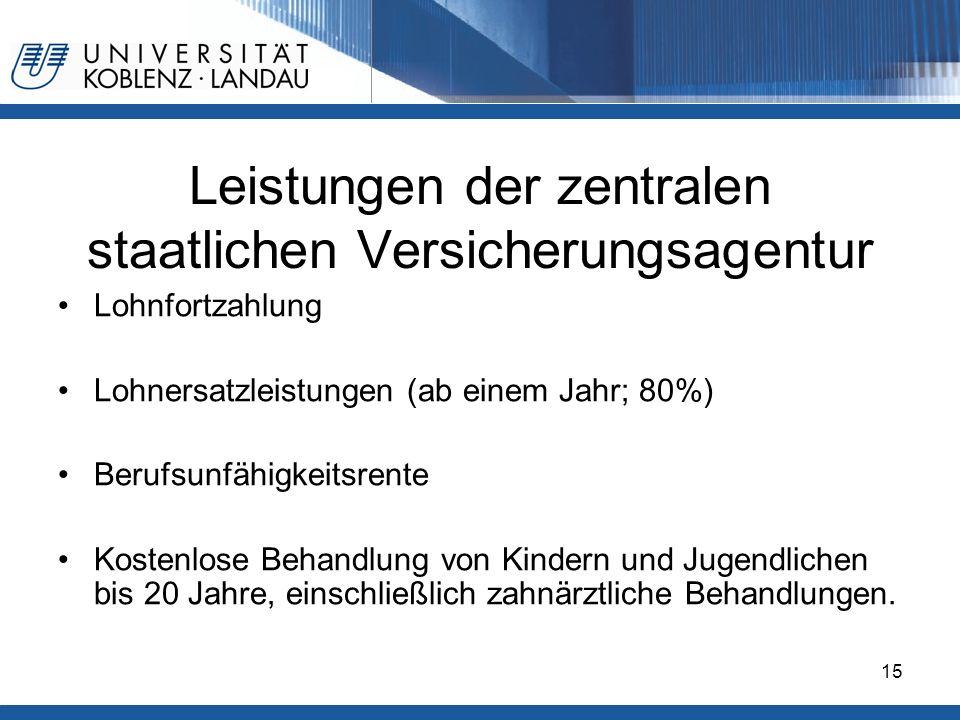 Gesundheitspolitik im europäischen Vergleich - Deutschland15 Leistungen der zentralen staatlichen Versicherungsagentur Lohnfortzahlung Lohnersatzleist