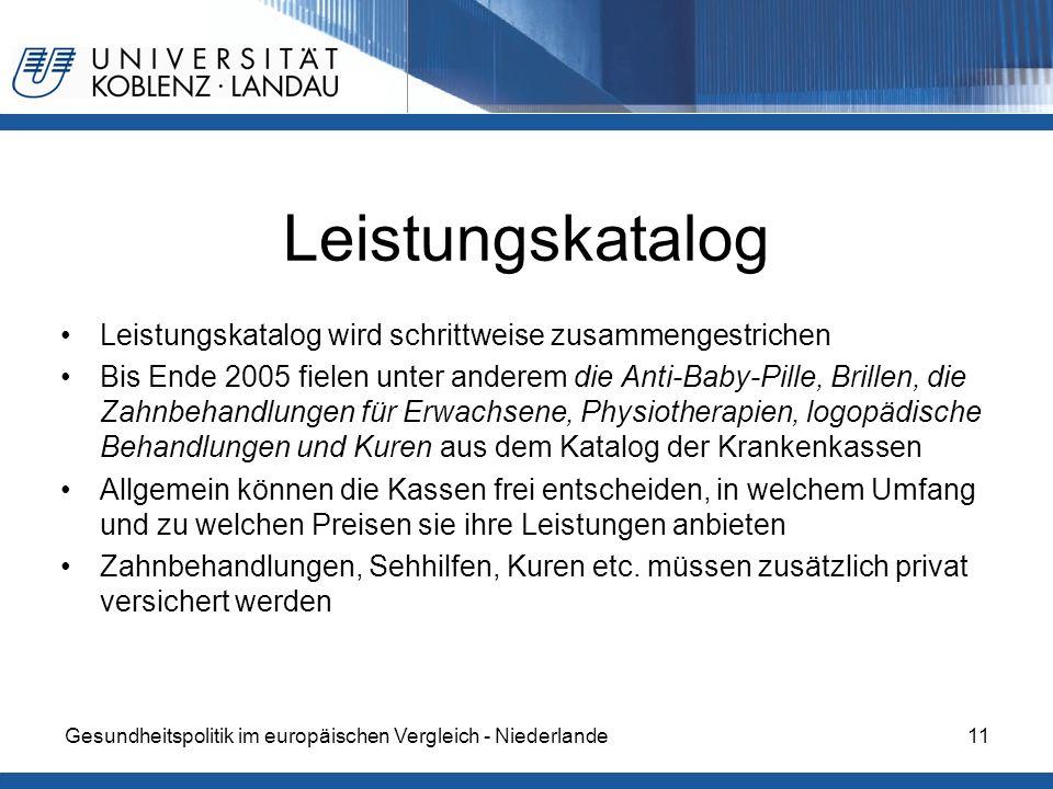 Gesundheitspolitik im europäischen Vergleich - Niederlande11 Leistungskatalog Leistungskatalog wird schrittweise zusammengestrichen Bis Ende 2005 fiel