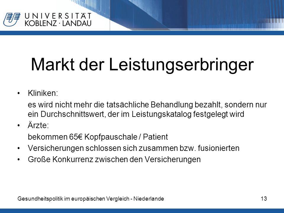 Markt der Leistungserbringer Kliniken: es wird nicht mehr die tatsächliche Behandlung bezahlt, sondern nur ein Durchschnittswert, der im Leistungskata