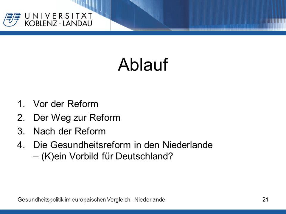 Ablauf 1.Vor der Reform 2.Der Weg zur Reform 3.Nach der Reform 4.Die Gesundheitsreform in den Niederlande – (K)ein Vorbild für Deutschland? Gesundheit