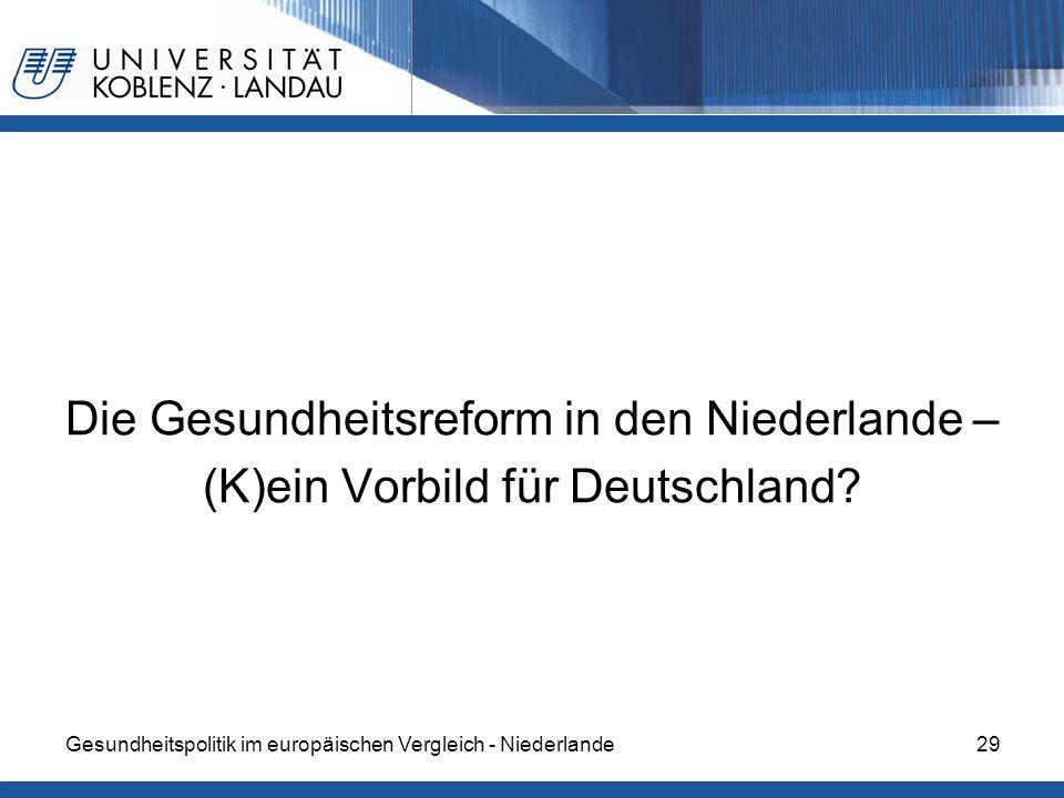 Die Gesundheitsreform in den Niederlande – (K)ein Vorbild für Deutschland? Gesundheitspolitik im europäischen Vergleich - Niederlande29