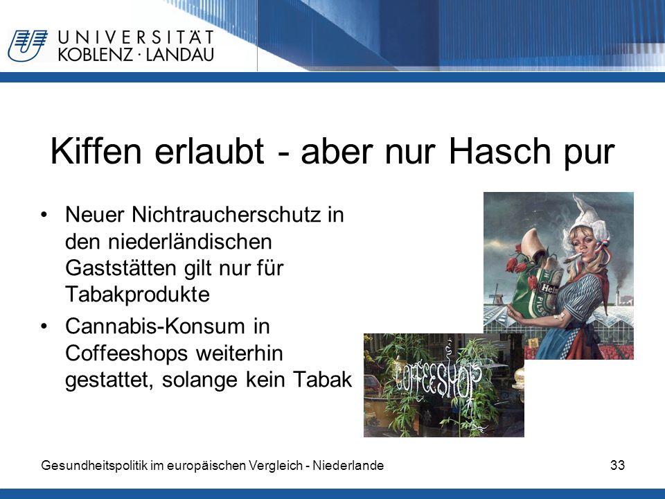 Gesundheitspolitik im europäischen Vergleich - Niederlande33 Kiffen erlaubt - aber nur Hasch pur Neuer Nichtraucherschutz in den niederländischen Gast