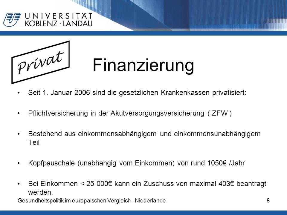 Gesundheitspolitik im europäischen Vergleich - Niederlande8 Finanzierung Seit 1. Januar 2006 sind die gesetzlichen Krankenkassen privatisiert: Pflicht