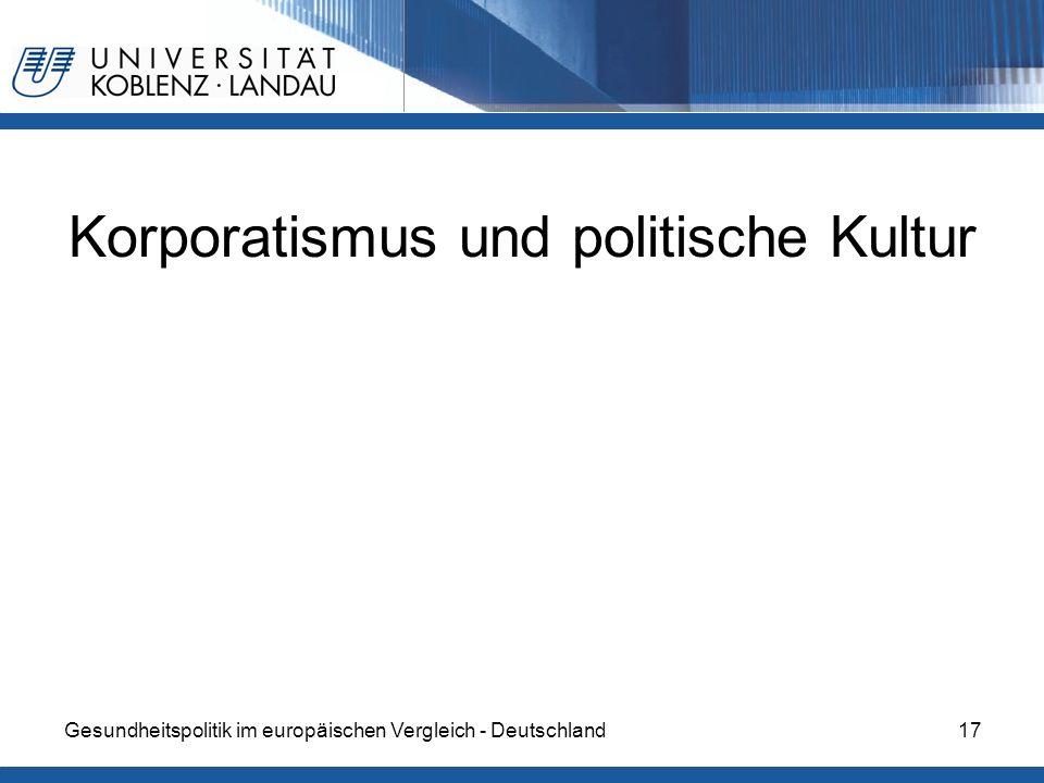 Gesundheitspolitik im europäischen Vergleich - Deutschland17 Korporatismus und politische Kultur