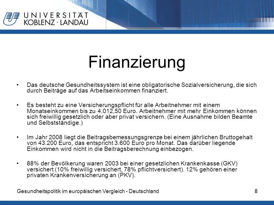 Gesundheitspolitik im europäischen Vergleich - Deutschland8 Finanzierung Das deutsche Gesundheitssystem ist eine obligatorische Sozialversicherung, die sich durch Beiträge auf das Arbeitseinkommen finanziert.