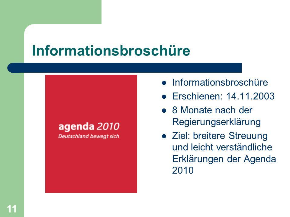 Informationsbroschüre Erschienen: 14.11.2003 8 Monate nach der Regierungserklärung Ziel: breitere Streuung und leicht verständliche Erklärungen der Agenda 2010 11