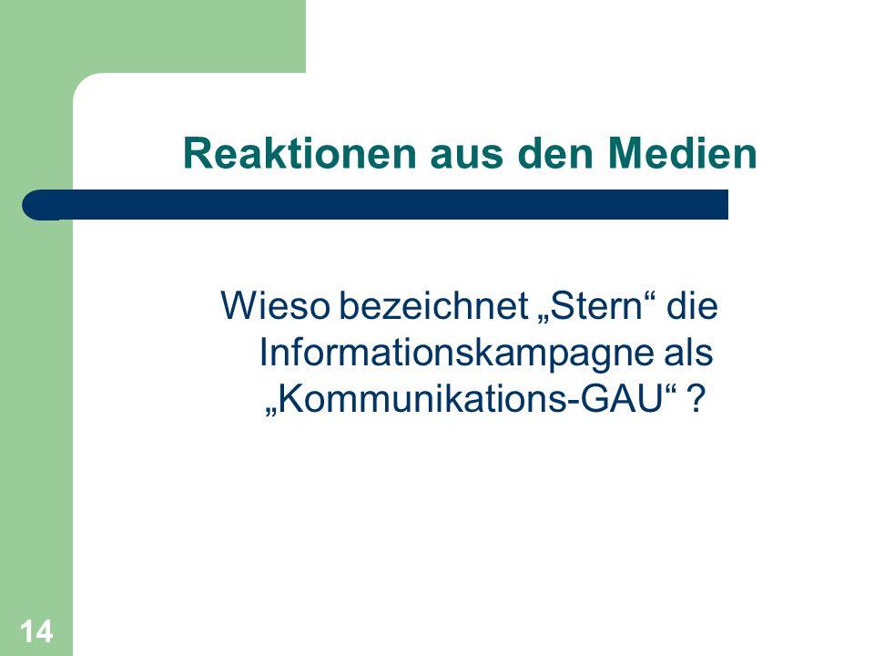 Reaktionen aus den Medien Wieso bezeichnet Stern die Informationskampagne als Kommunikations-GAU ? 14