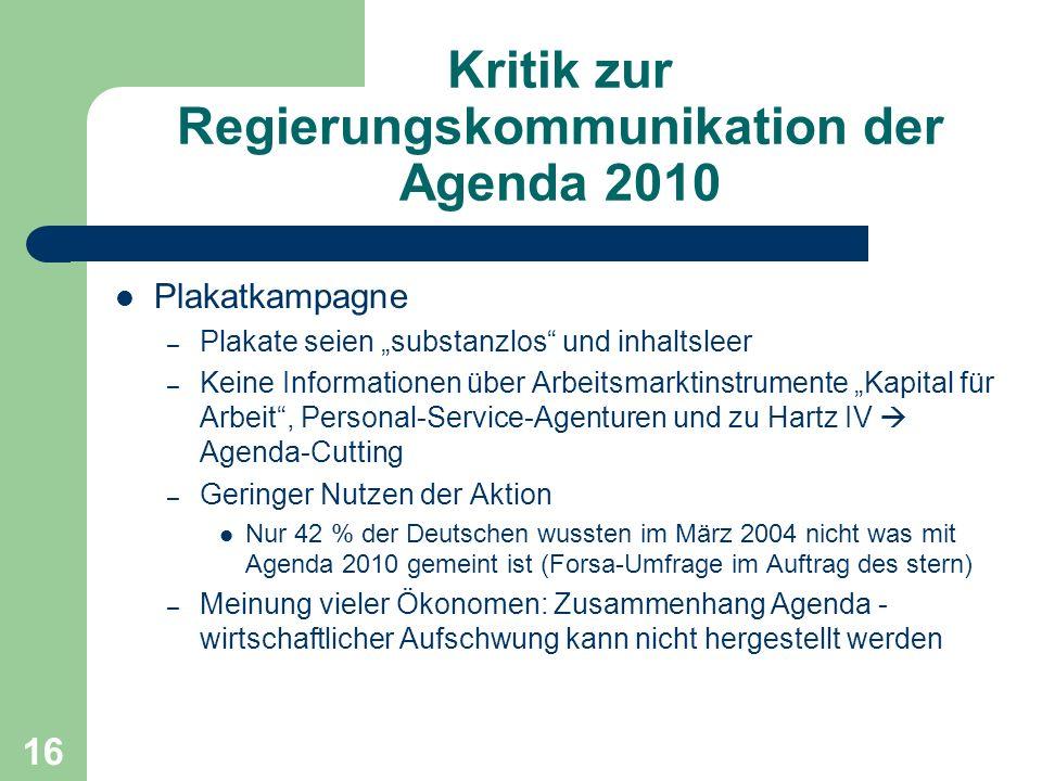 Kritik zur Regierungskommunikation der Agenda 2010 Plakatkampagne – Plakate seien substanzlos und inhaltsleer – Keine Informationen über Arbeitsmarkti