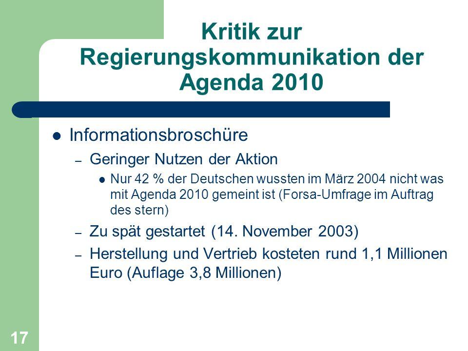 Kritik zur Regierungskommunikation der Agenda 2010 Informationsbroschüre – Geringer Nutzen der Aktion Nur 42 % der Deutschen wussten im März 2004 nicht was mit Agenda 2010 gemeint ist (Forsa-Umfrage im Auftrag des stern) – Zu spät gestartet (14.