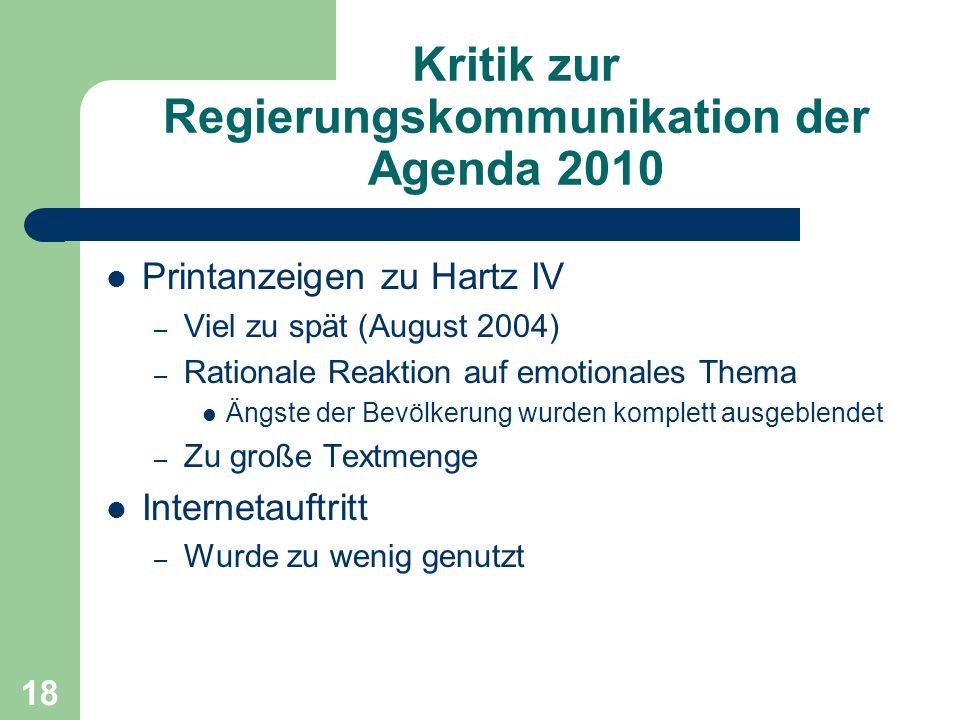 Kritik zur Regierungskommunikation der Agenda 2010 Printanzeigen zu Hartz IV – Viel zu spät (August 2004) – Rationale Reaktion auf emotionales Thema Ä