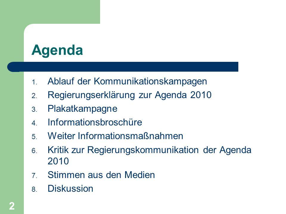 Agenda 1. Ablauf der Kommunikationskampagen 2. Regierungserklärung zur Agenda 2010 3. Plakatkampagne 4. Informationsbroschüre 5. Weiter Informationsma