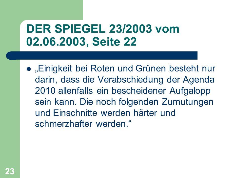 DER SPIEGEL 23/2003 vom 02.06.2003, Seite 22 Einigkeit bei Roten und Grünen besteht nur darin, dass die Verabschiedung der Agenda 2010 allenfalls ein bescheidener Aufgalopp sein kann.