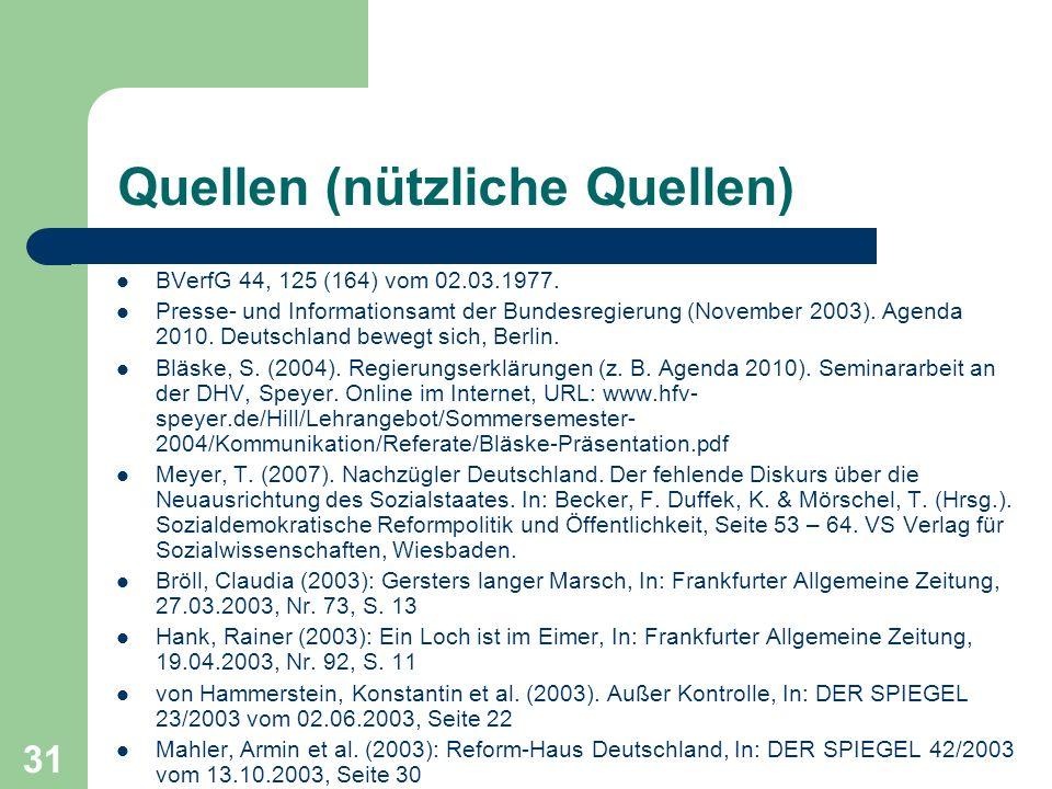 Quellen (nützliche Quellen) BVerfG 44, 125 (164) vom 02.03.1977. Presse- und Informationsamt der Bundesregierung (November 2003). Agenda 2010. Deutsch