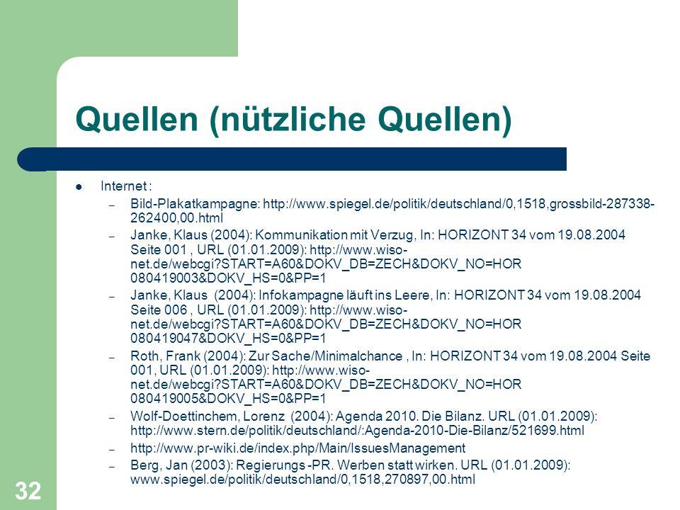 Quellen (nützliche Quellen) Internet : – Bild-Plakatkampagne: http://www.spiegel.de/politik/deutschland/0,1518,grossbild-287338- 262400,00.html – Janke, Klaus (2004): Kommunikation mit Verzug, In: HORIZONT 34 vom 19.08.2004 Seite 001, URL (01.01.2009): http://www.wiso- net.de/webcgi?START=A60&DOKV_DB=ZECH&DOKV_NO=HOR 080419003&DOKV_HS=0&PP=1 – Janke, Klaus (2004): Infokampagne läuft ins Leere, In: HORIZONT 34 vom 19.08.2004 Seite 006, URL (01.01.2009): http://www.wiso- net.de/webcgi?START=A60&DOKV_DB=ZECH&DOKV_NO=HOR 080419047&DOKV_HS=0&PP=1 – Roth, Frank (2004): Zur Sache/Minimalchance, In: HORIZONT 34 vom 19.08.2004 Seite 001, URL (01.01.2009): http://www.wiso- net.de/webcgi?START=A60&DOKV_DB=ZECH&DOKV_NO=HOR 080419005&DOKV_HS=0&PP=1 – Wolf-Doettinchem, Lorenz (2004): Agenda 2010.
