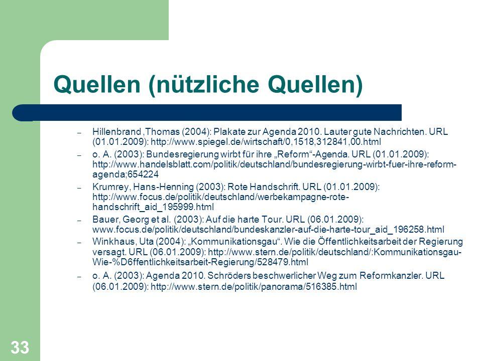 Quellen (nützliche Quellen) – Hillenbrand,Thomas (2004): Plakate zur Agenda 2010. Lauter gute Nachrichten. URL (01.01.2009): http://www.spiegel.de/wir