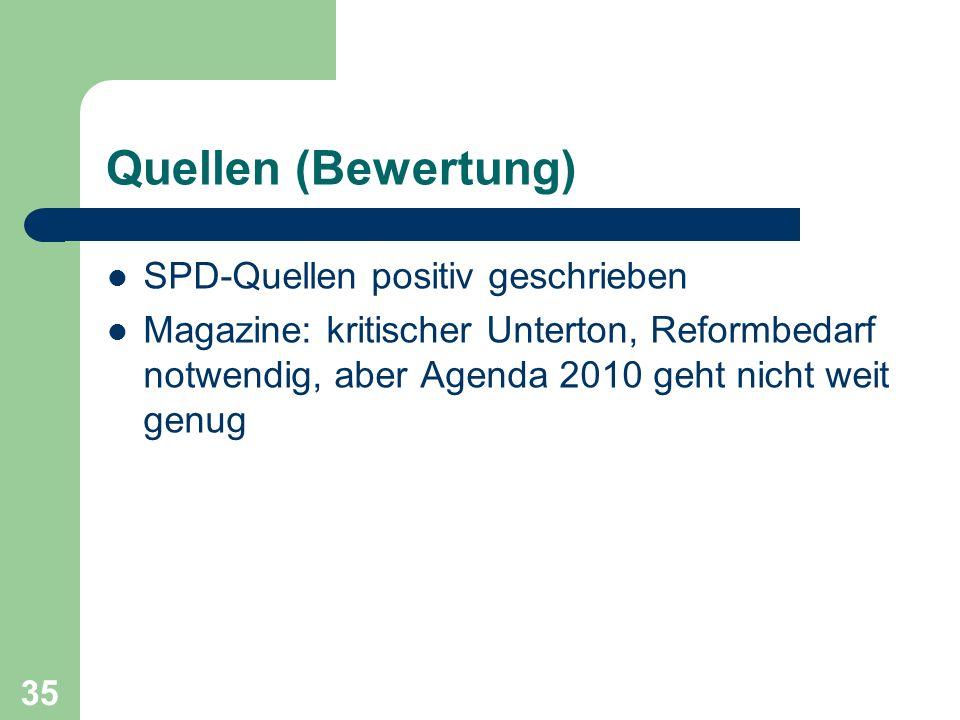 Quellen (Bewertung) SPD-Quellen positiv geschrieben Magazine: kritischer Unterton, Reformbedarf notwendig, aber Agenda 2010 geht nicht weit genug 35