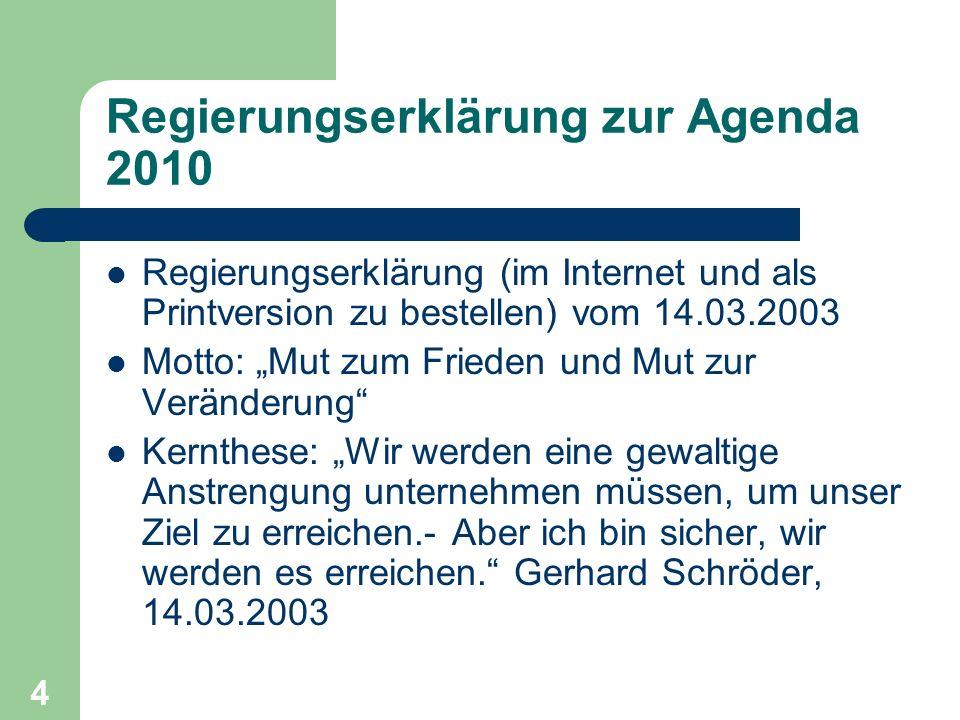 Regierungserklärung zur Agenda 2010 Regierungserklärung (im Internet und als Printversion zu bestellen) vom 14.03.2003 Motto: Mut zum Frieden und Mut zur Veränderung Kernthese: Wir werden eine gewaltige Anstrengung unternehmen müssen, um unser Ziel zu erreichen.- Aber ich bin sicher, wir werden es erreichen.