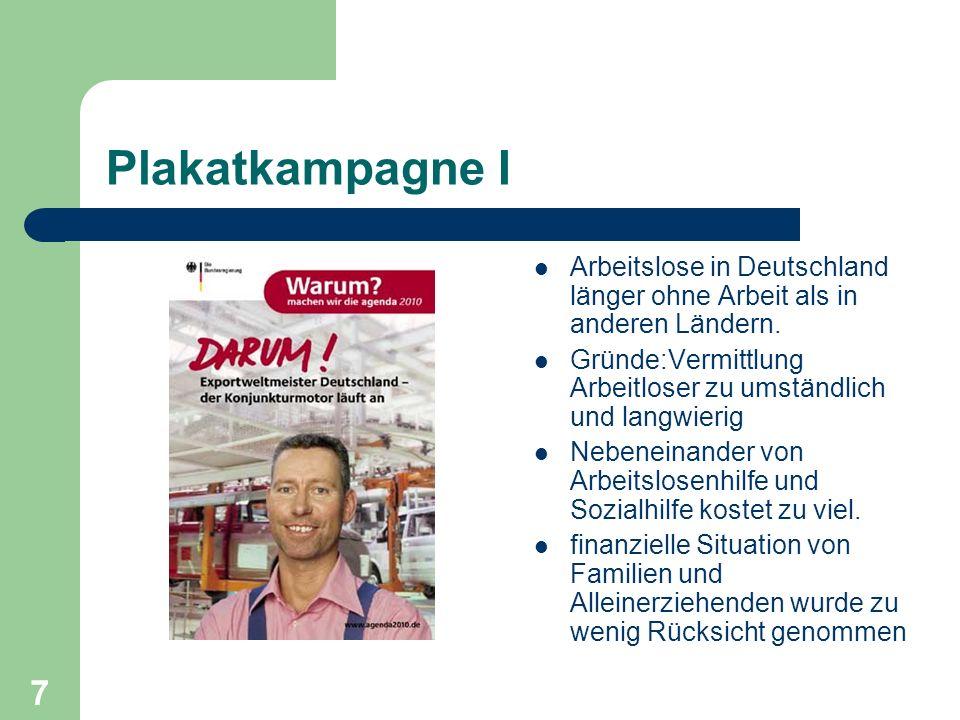 Plakatkampagne I Arbeitslose in Deutschland länger ohne Arbeit als in anderen Ländern. Gründe:Vermittlung Arbeitloser zu umständlich und langwierig Ne