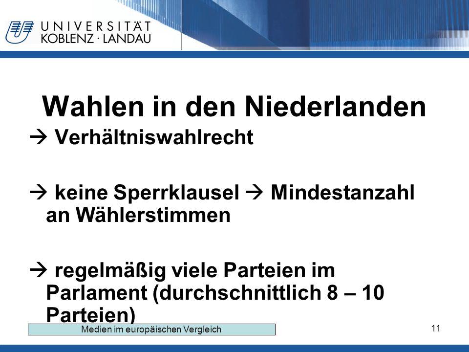 11 Wahlen in den Niederlanden Verhältniswahlrecht keine Sperrklausel Mindestanzahl an Wählerstimmen regelmäßig viele Parteien im Parlament (durchschnittlich 8 – 10 Parteien) Medien im europäischen Vergleich