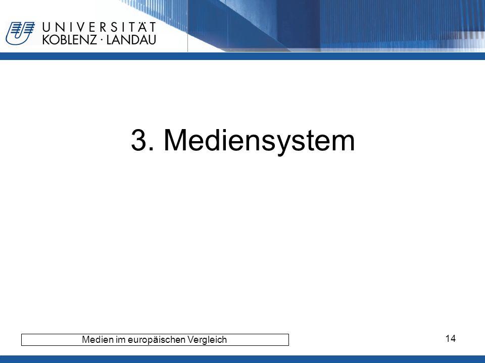 14 3. Mediensystem Medien im europäischen Vergleich