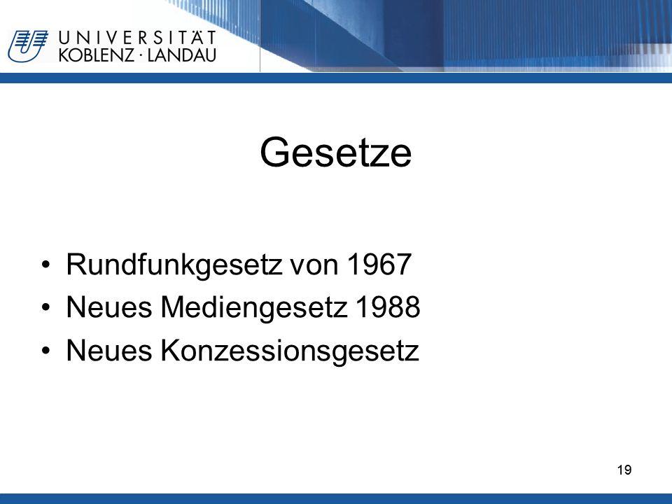 19 Gesetze Rundfunkgesetz von 1967 Neues Mediengesetz 1988 Neues Konzessionsgesetz 19