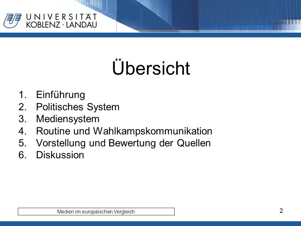 2 Übersicht 1.Einführung 2.Politisches System 3.Mediensystem 4.Routine und Wahlkampskommunikation 5.Vorstellung und Bewertung der Quellen 6.Diskussion Medien im europäischen Vergleich