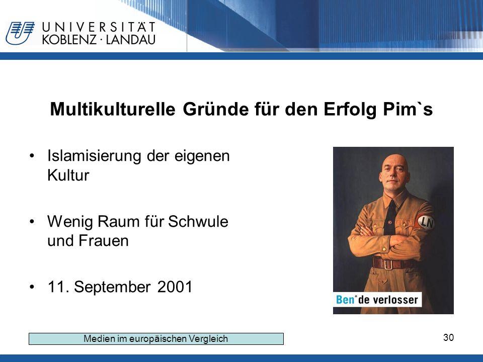 30 Multikulturelle Gründe für den Erfolg Pim`s Islamisierung der eigenen Kultur Wenig Raum für Schwule und Frauen 11.