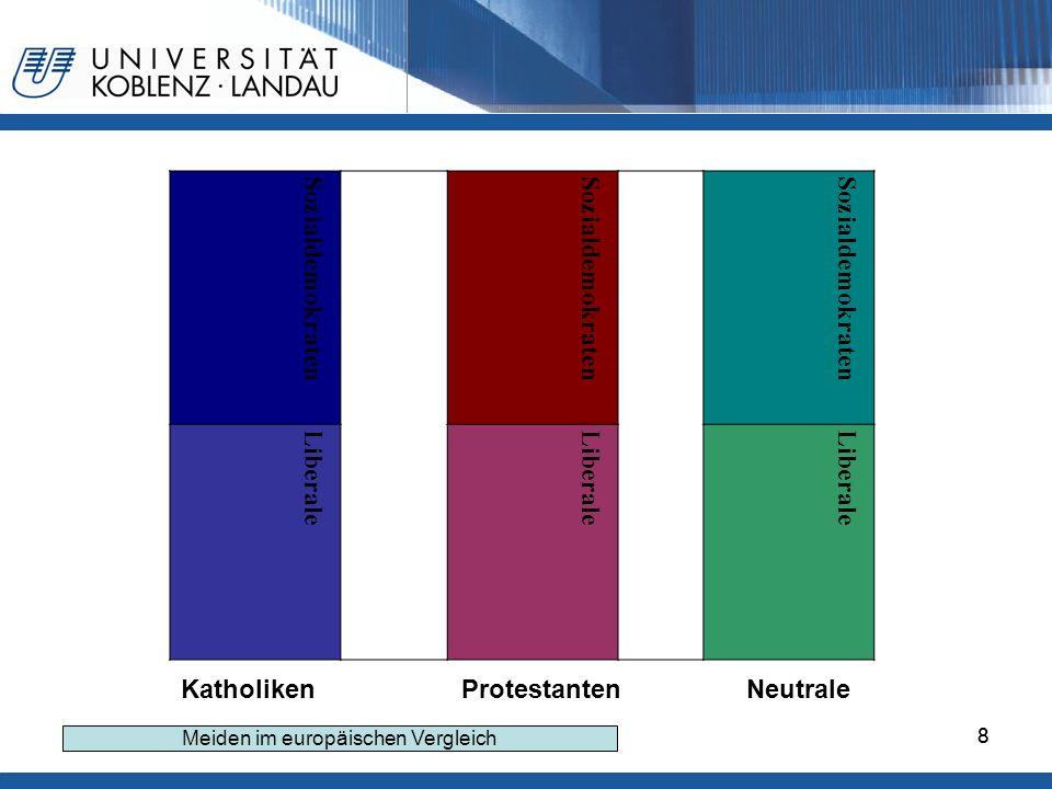 88 Sozialdemokraten Liberale Katholiken Protestanten Neutrale Meiden im europäischen Vergleich