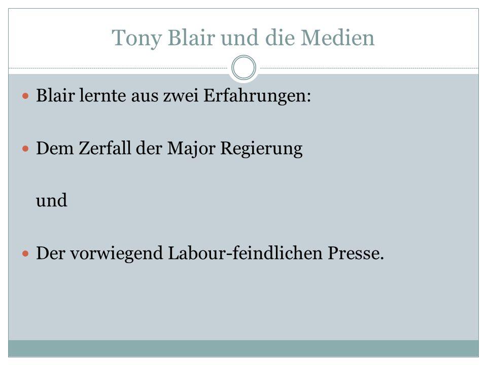 Blair lernte aus zwei Erfahrungen: Dem Zerfall der Major Regierung und Der vorwiegend Labour-feindlichen Presse.