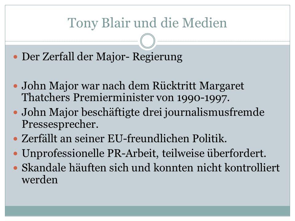 Tony Blair und die Medien Der Zerfall der Major- Regierung John Major war nach dem Rücktritt Margaret Thatchers Premierminister von 1990-1997. John Ma