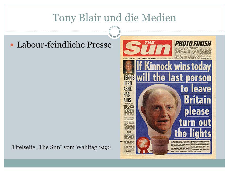 Tony Blair und die Medien Labour-feindliche Presse Titelseite The Sun vom Wahltag 1992