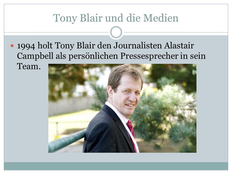 Tony Blair und die Medien 1994 holt Tony Blair den Journalisten Alastair Campbell als persönlichen Pressesprecher in sein Team.