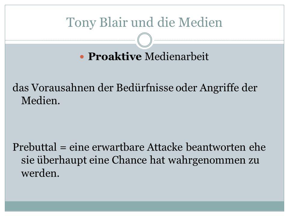 Tony Blair und die Medien Proaktive Medienarbeit das Vorausahnen der Bedürfnisse oder Angriffe der Medien. Prebuttal = eine erwartbare Attacke beantwo