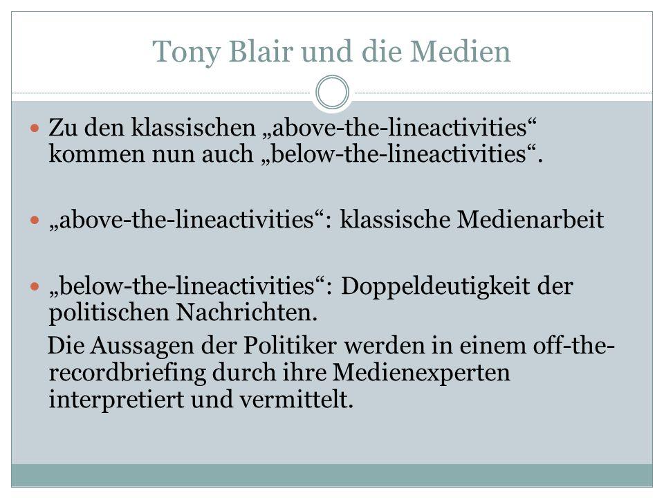 Tony Blair und die Medien Zu den klassischen above-the-lineactivities kommen nun auch below-the-lineactivities. above-the-lineactivities: klassische M