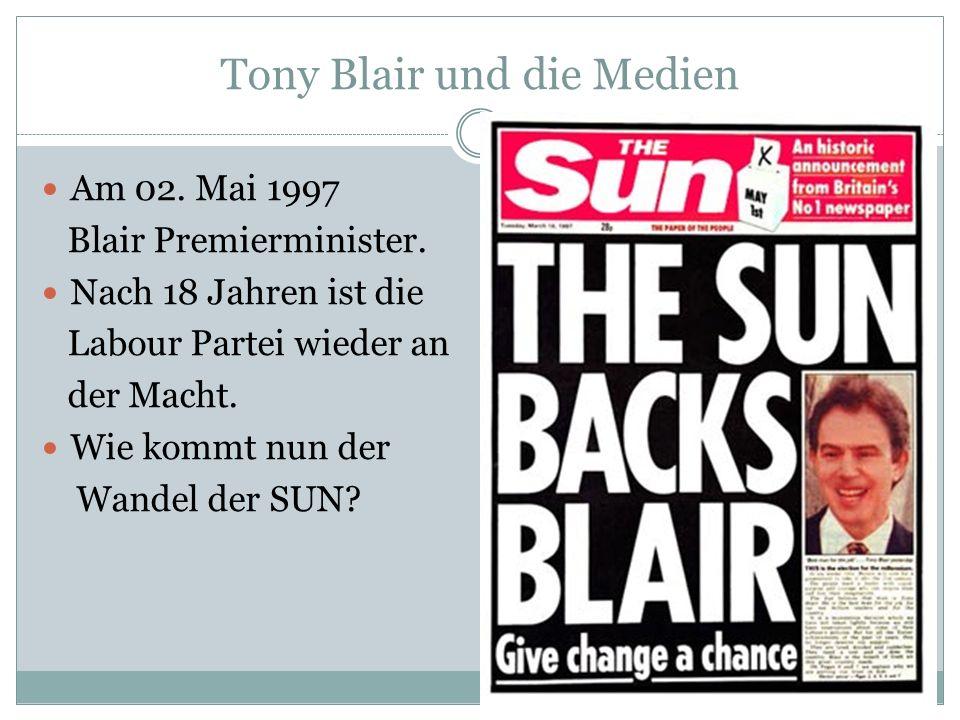 Tony Blair und die Medien Am 02. Mai 1997 Blair Premierminister. Nach 18 Jahren ist die Labour Partei wieder an der Macht. Wie kommt nun der Wandel de