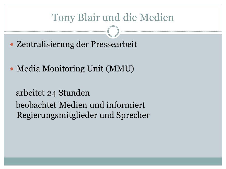 Tony Blair und die Medien Zentralisierung der Pressearbeit Media Monitoring Unit (MMU) arbeitet 24 Stunden beobachtet Medien und informiert Regierungs