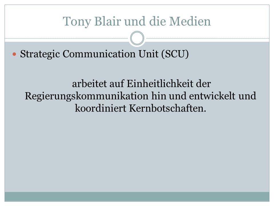 Tony Blair und die Medien Strategic Communication Unit (SCU) arbeitet auf Einheitlichkeit der Regierungskommunikation hin und entwickelt und koordinie