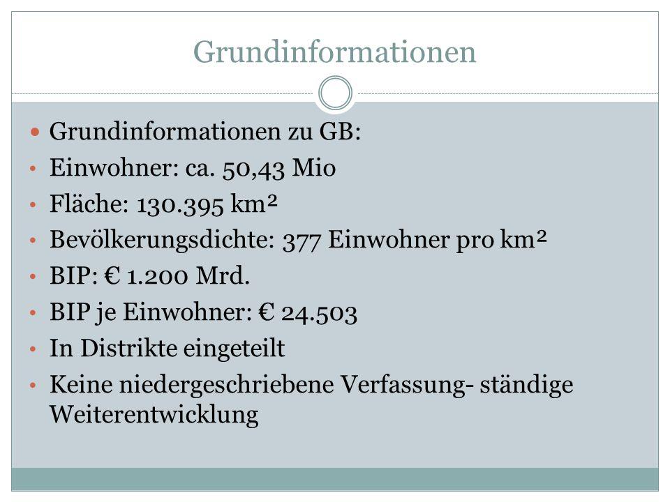 Grundinformationen Grundinformationen zu GB: Einwohner: ca. 50,43 Mio Fläche: 130.395 km² Bevölkerungsdichte: 377 Einwohner pro km² BIP: 1.200 Mrd. BI
