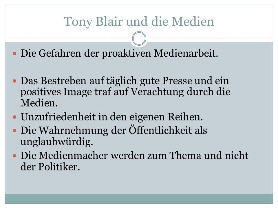 Tony Blair und die Medien Die Gefahren der proaktiven Medienarbeit. Das Bestreben auf täglich gute Presse und ein positives Image traf auf Verachtung