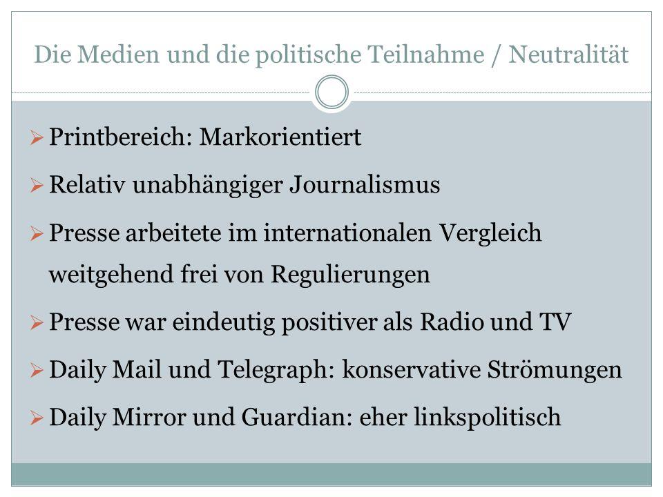 Die Medien und die politische Teilnahme / Neutralität Printbereich: Markorientiert Relativ unabhängiger Journalismus Presse arbeitete im international