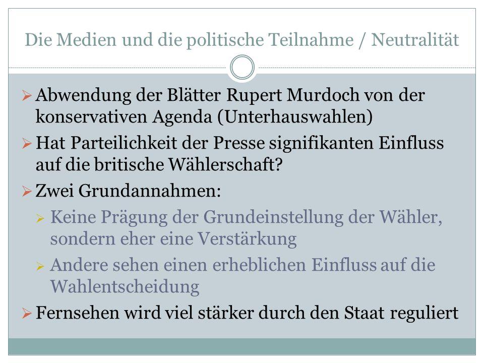 Die Medien und die politische Teilnahme / Neutralität Abwendung der Blätter Rupert Murdoch von der konservativen Agenda (Unterhauswahlen) Hat Parteili