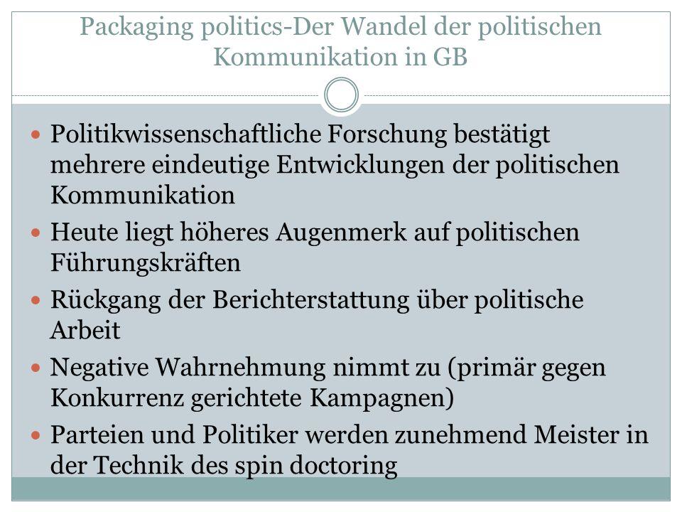 Packaging politics-Der Wandel der politischen Kommunikation in GB Politikwissenschaftliche Forschung bestätigt mehrere eindeutige Entwicklungen der po