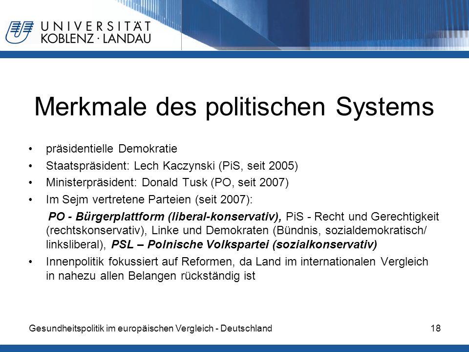 Gesundheitspolitik im europäischen Vergleich - Deutschland18 Merkmale des politischen Systems präsidentielle Demokratie Staatspräsident: Lech Kaczynsk