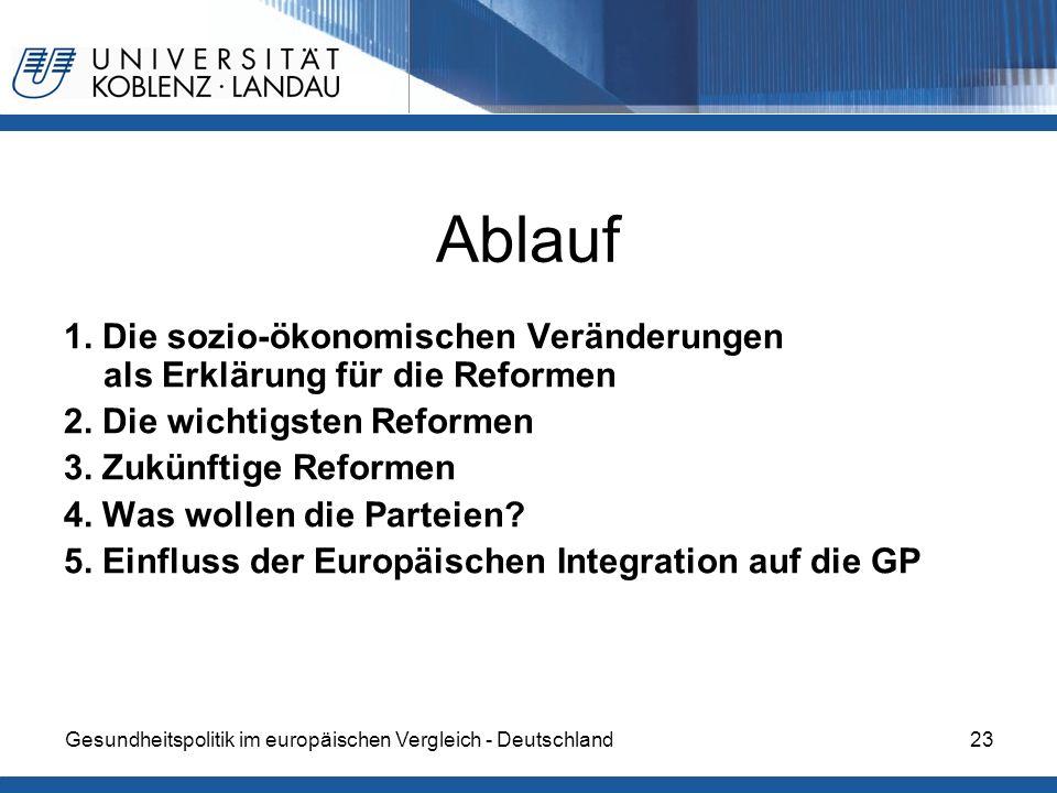 Gesundheitspolitik im europäischen Vergleich - Deutschland23 Ablauf 1. Die sozio-ökonomischen Veränderungen als Erklärung für die Reformen 2. Die wich