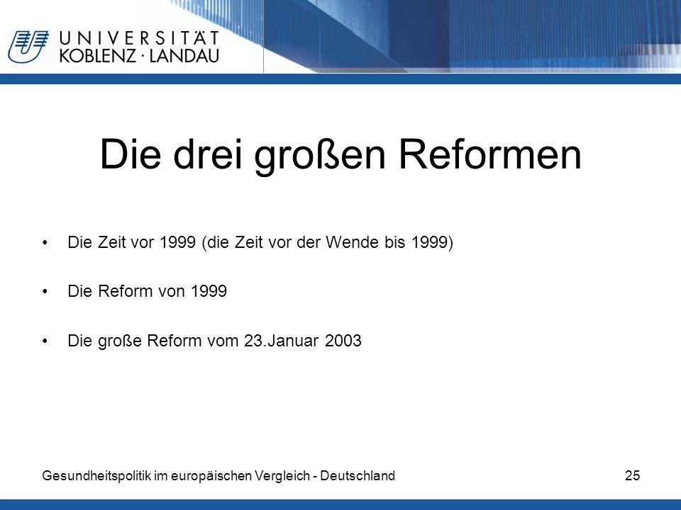 Gesundheitspolitik im europäischen Vergleich - Deutschland25 Die drei großen Reformen Die Zeit vor 1999 (die Zeit vor der Wende bis 1999) Die Reform v