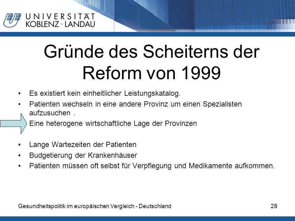 Gesundheitspolitik im europäischen Vergleich - Deutschland28 Gründe des Scheiterns der Reform von 1999 Es existiert kein einheitlicher Leistungskatalo