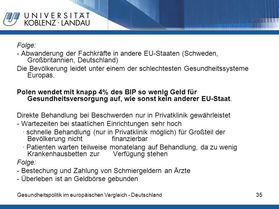 Gesundheitspolitik im europäischen Vergleich - Deutschland35 Folge: - Abwanderung der Fachkräfte in andere EU-Staaten (Schweden, Großbritannien, Deuts